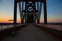 pedestrian bridge at sunset