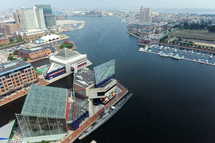 looking down from above at Baltimore harbor