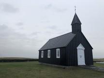 rural black church in Iceland