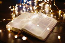 fairy lights on a Bible