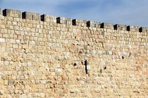 Jerusalem city wall. Limestone with castle edge.