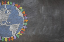 Drawing of earth rainbow on chalkboard.