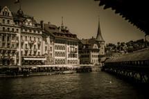 row houses along a river