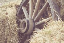 wagon wheel and hay
