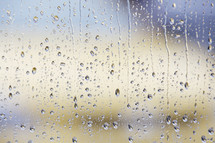 Rain on a window pane.