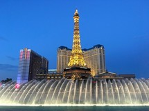 Bellagio Fountains at night in Las Vegas