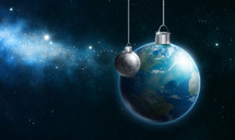 Earth and moon hanging Christmas ornaments