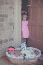 a young door looking out a door at her newborn sister in a basket