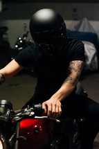 a man on a motorcycle