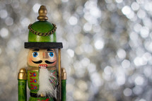 nutcracker and white lights bokeh background