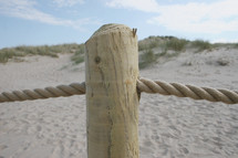 rope fence on a beach