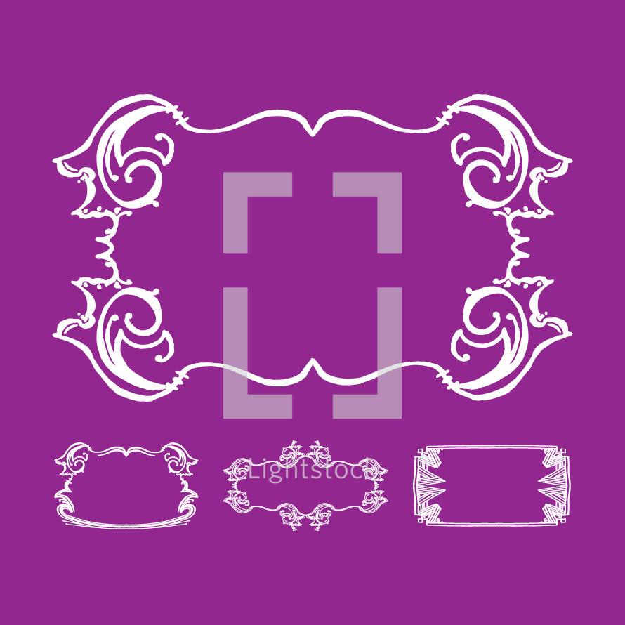 frame borders on purple background