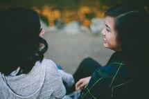 friends talking outdoors