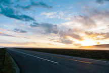 sunset and a highway