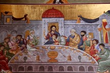 Painting of the Last Supper, Podgorica Orthodox Cathedral, Montenegro.