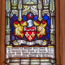 stained glass memorial to William Rees Brock