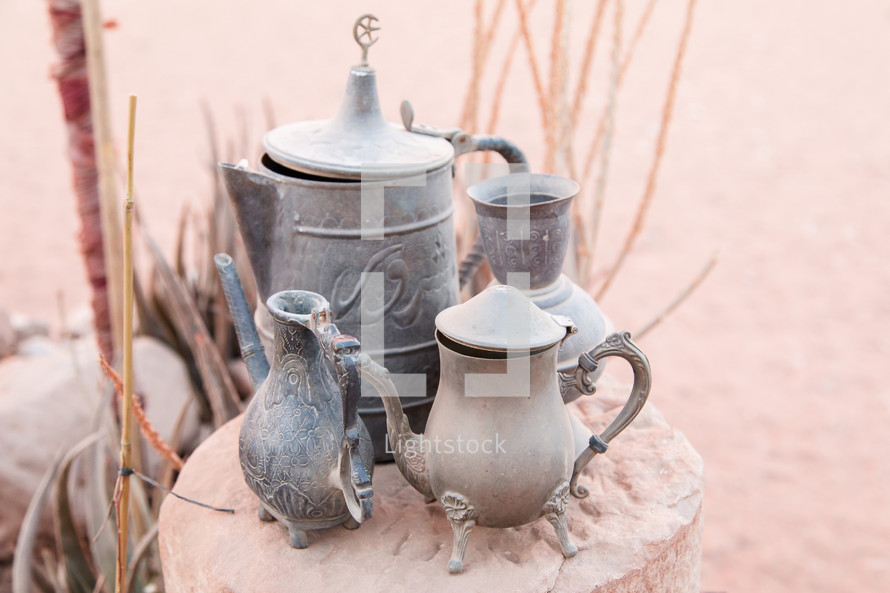 varnished silver pots in the middle east in Jordan