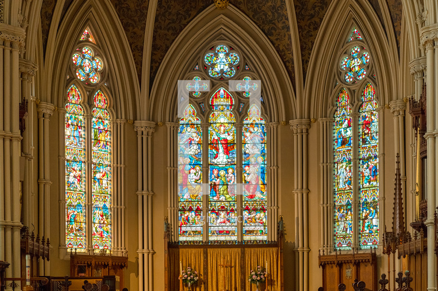 stained glass windows in a cathedral