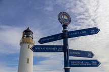 Mull of Galloway lighthouse and surrounding buildings in Dumfries and Galloway, Scotland, United Kingdom under a blue sky with white clouds