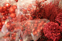 shiny red decorative elements for Christmas