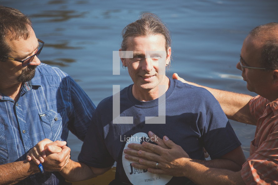 baptism in a lake outdoors