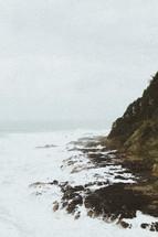 rough sea along a coastline