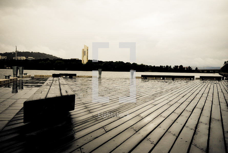 benches on a wooden dock