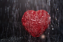 red heart in the rain