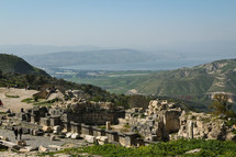 View of the Sea of Galilee and the Golan Heights north of the ruins of Umm Qais