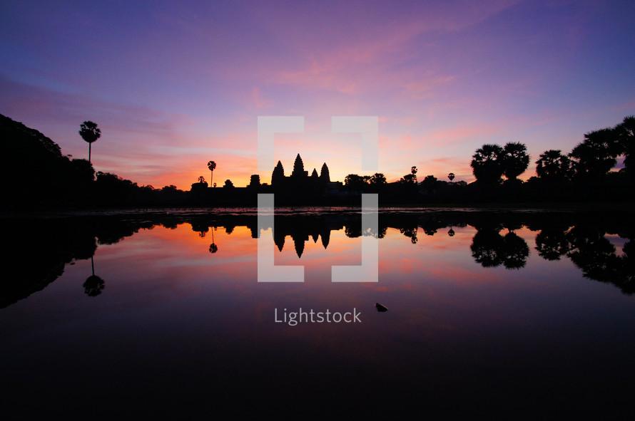 Sunrise over Angkor Wat, Cambodia. Dawn. New Day.