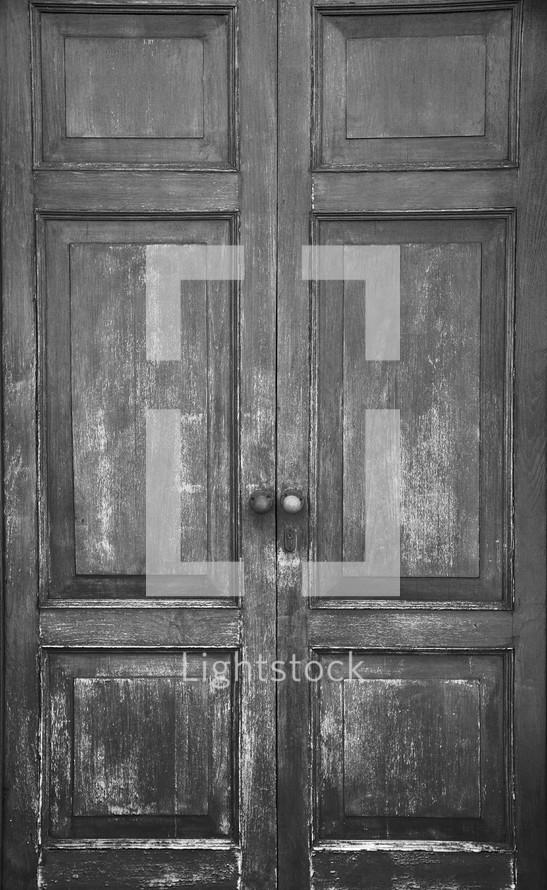 Double wooden doors