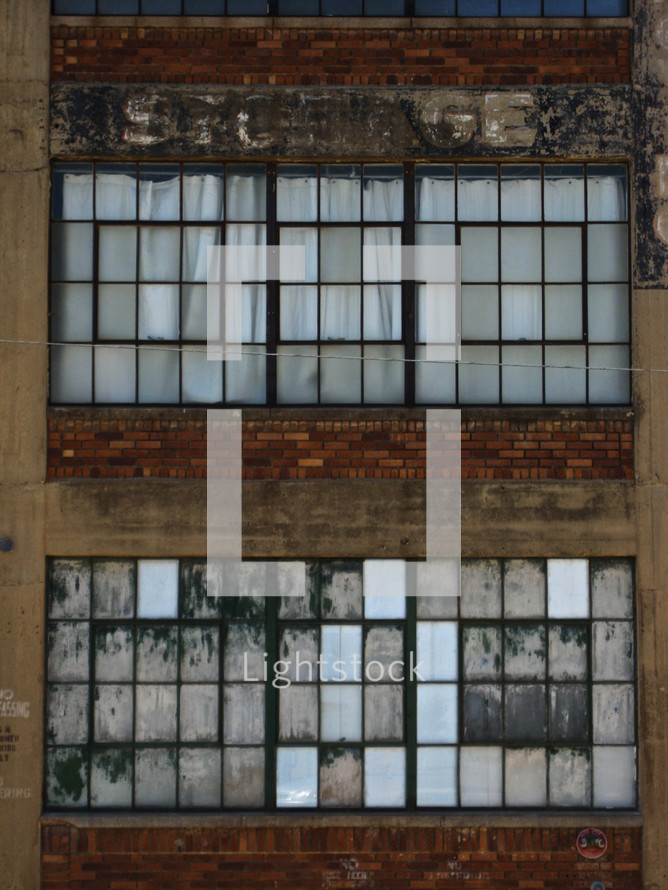 Window panes from a brick warehouse