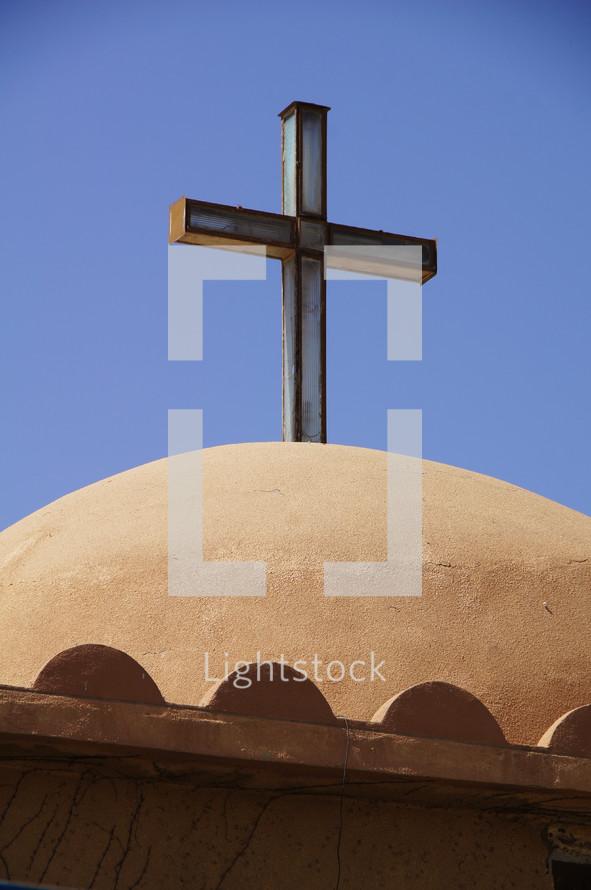 Cross on top of a church bell tower, Erbil, Kurdistan, Iraq
