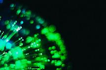 radiating green light
