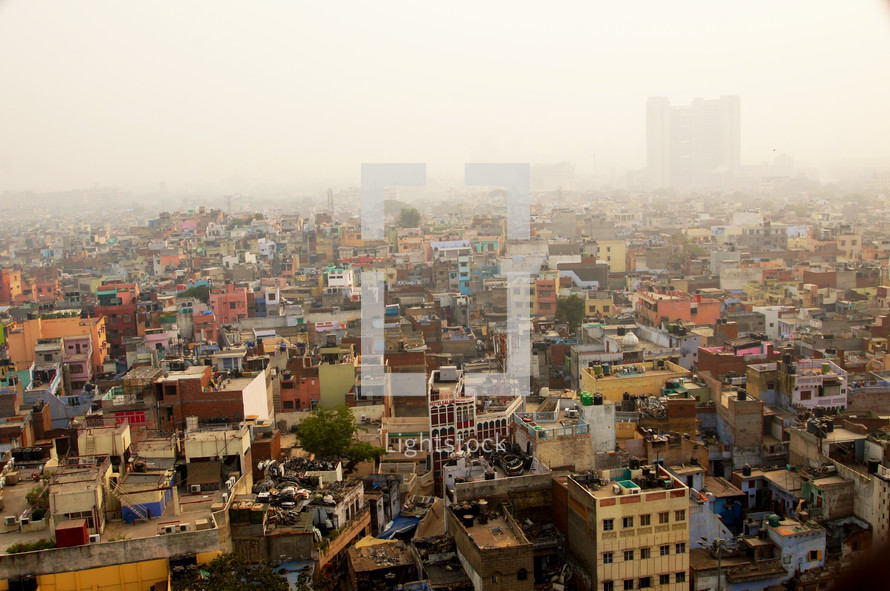Aerial view of a crowded city in India. New Delhi, India's largest city, home to some 23 million people.