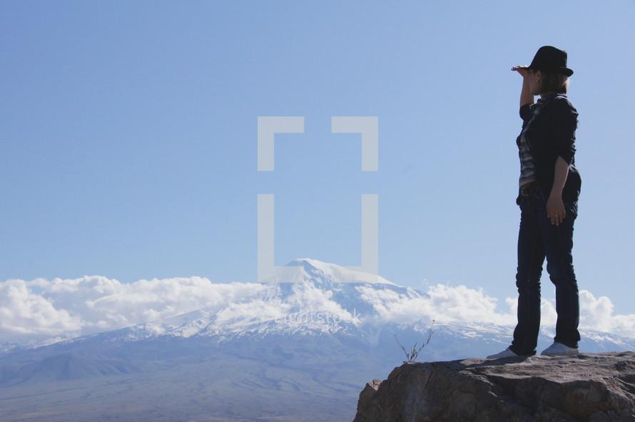 Woman looking at view of Mt. Ararat