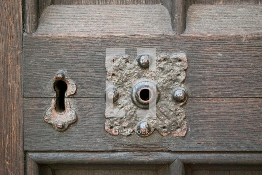 old key hole and broken door knob