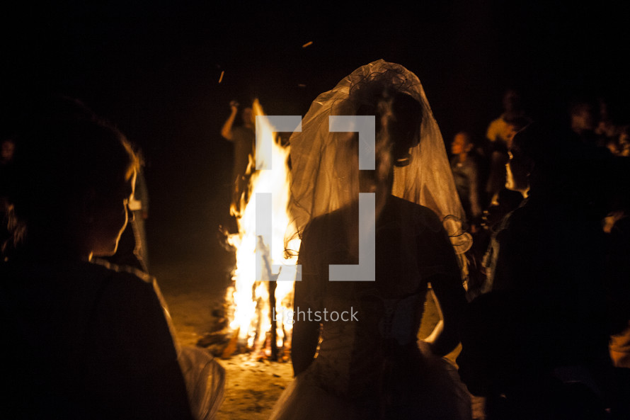 Bonfire wedding at night
