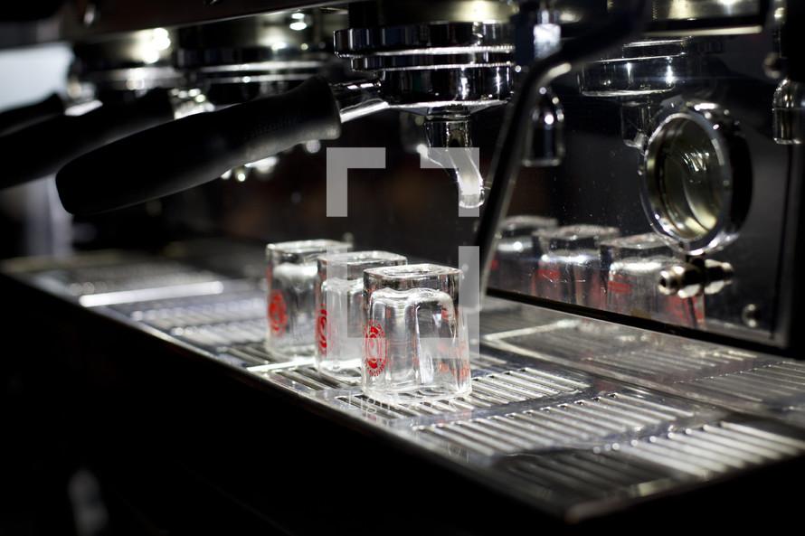 An espresso machine for making coffee