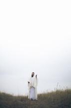 Jesus on the hillside.