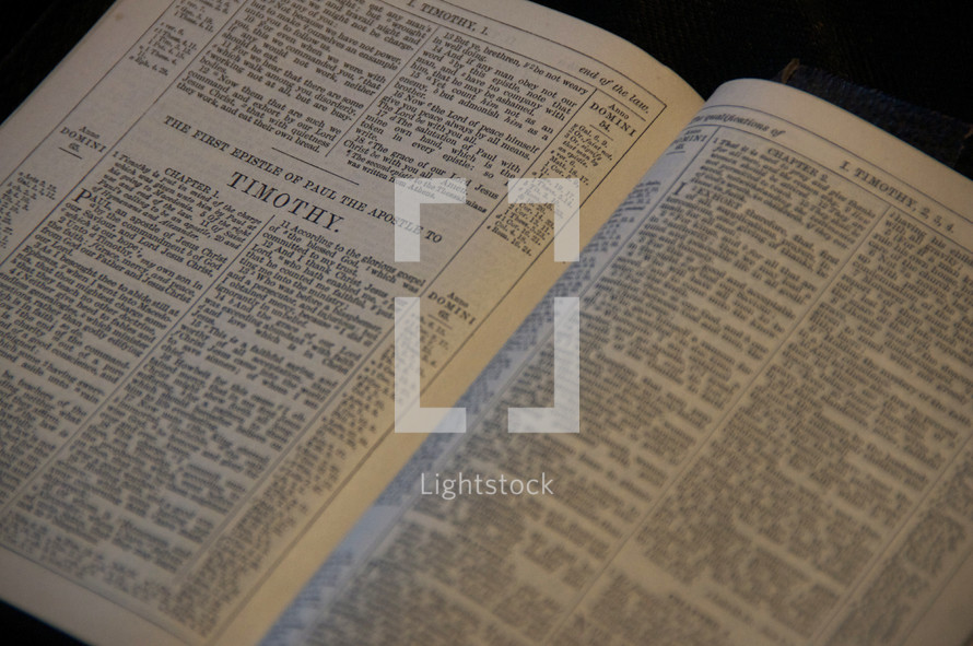 Open Bible in the book of I Timothy
