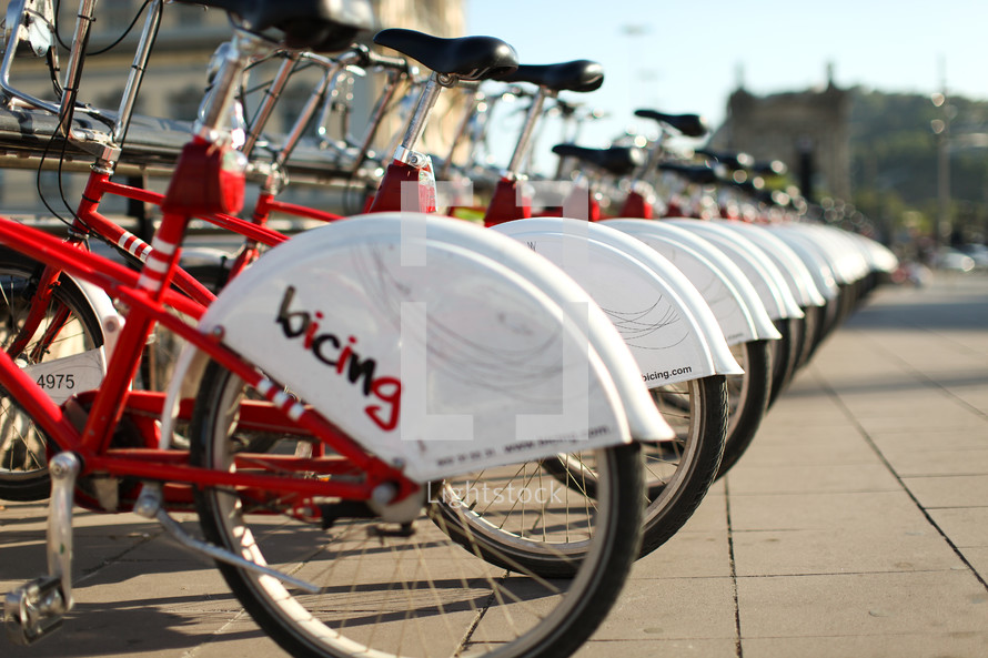 Bicycles on bicycle rack