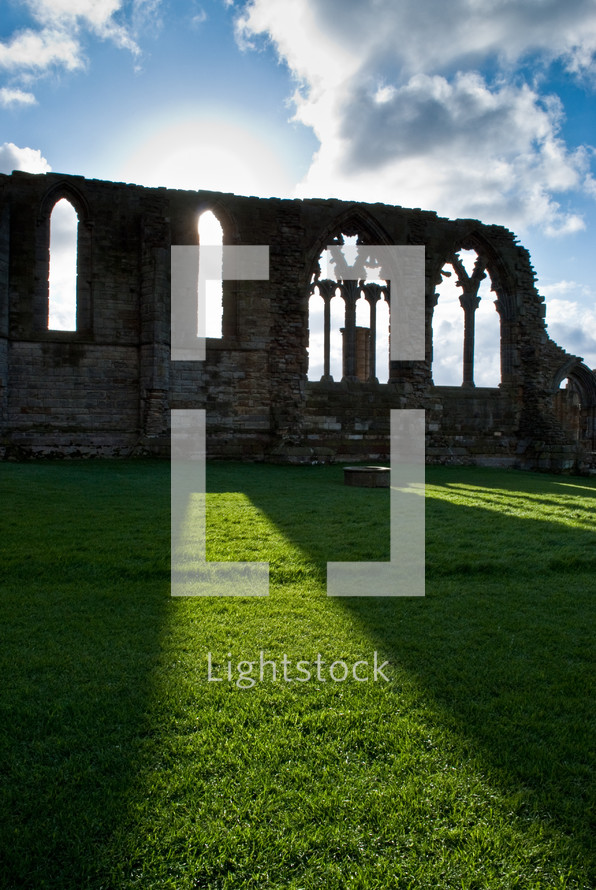 sunlight shining on ruins