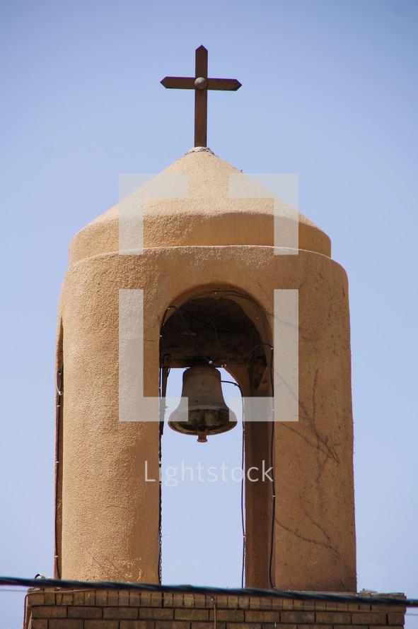 Church bell tower on an old orthodox church, Erbil, Kurdistan, Iraq