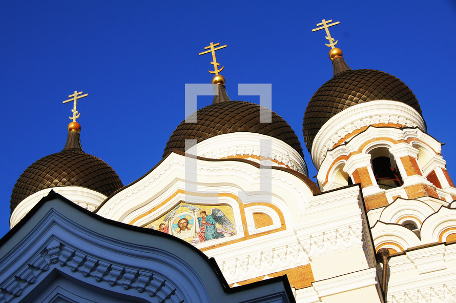 Detail of the Russian Orthodox Alexander Nevsky Cathedral at the top of Toompea Hill in the centre of Tallinn, Estonia