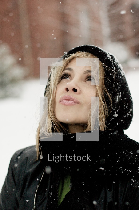 Woman outside in the snow