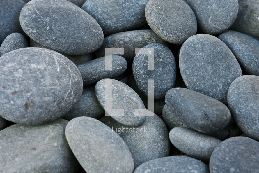 A pile of smooth rocks
