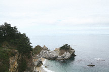 A rocky ocean shore.