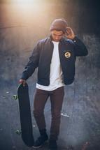 a man with a skateboard