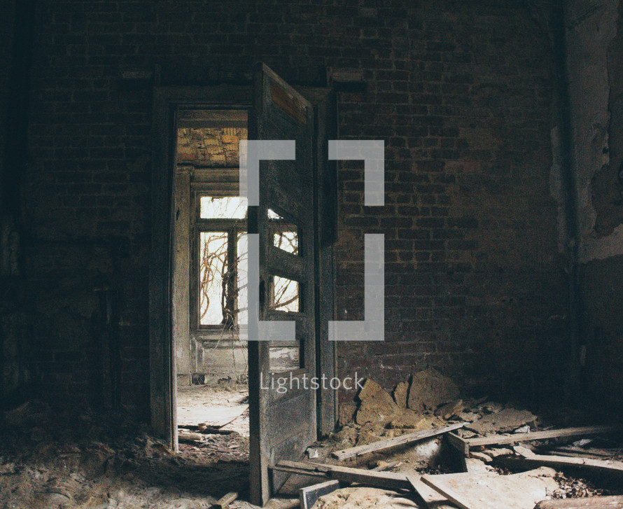 room, destruction, windows, vines, dry vines, spooky, abandoned, neglected, building